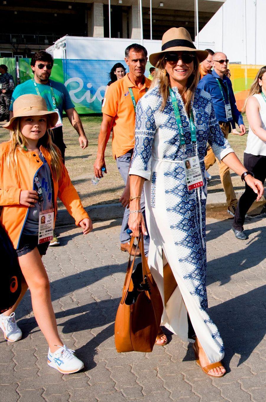 La reine Maxima des Pays-Bas, avec sa fille Ariane, aux JO de Rio, le 19 août 2016