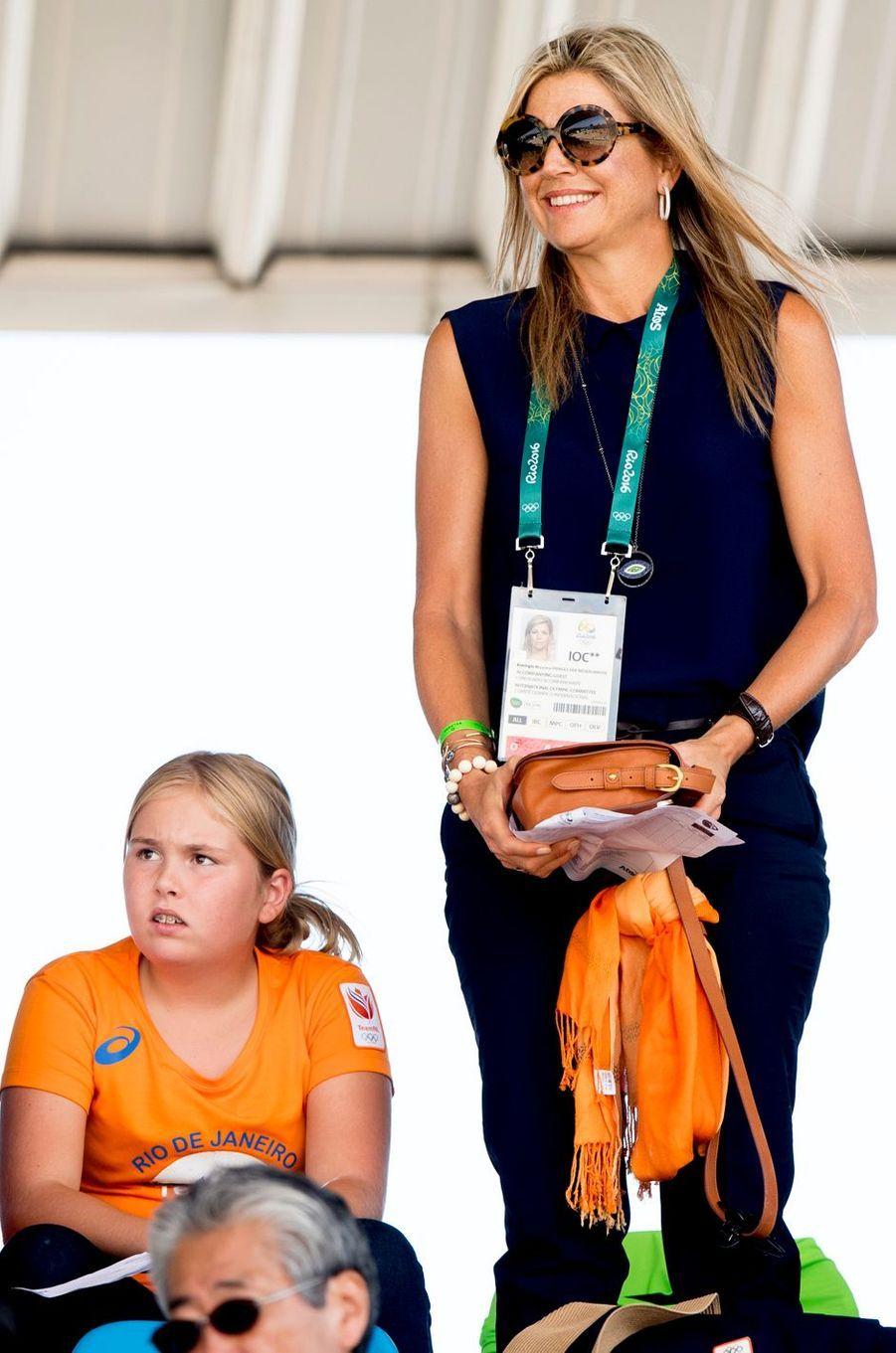 La reine Maxima des Pays-Bas, avec sa fille Catharina-Amalia, aux JO de Rio, le 16 août 2016