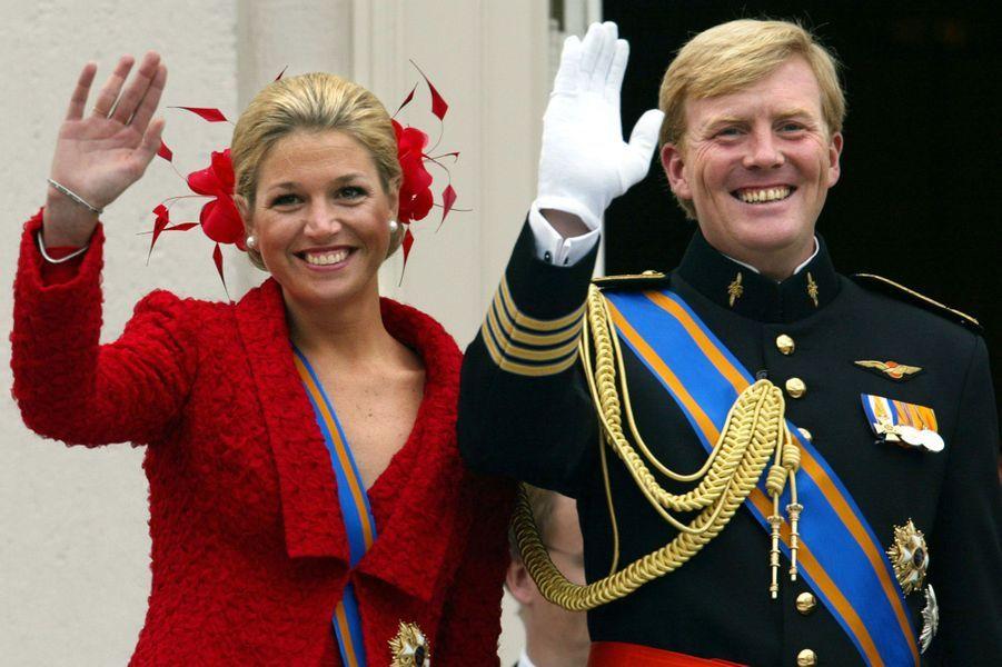 La princesse Maxima avec le prince Willem-Alexander des Pays-Bas à Amsterdam, le 18 septembre 2002