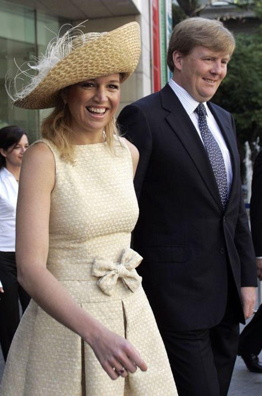 La princesse Maxima avec le prince Willem-Alexander des Pays-Bas à Buenos-Aires, le 1er avril 2006