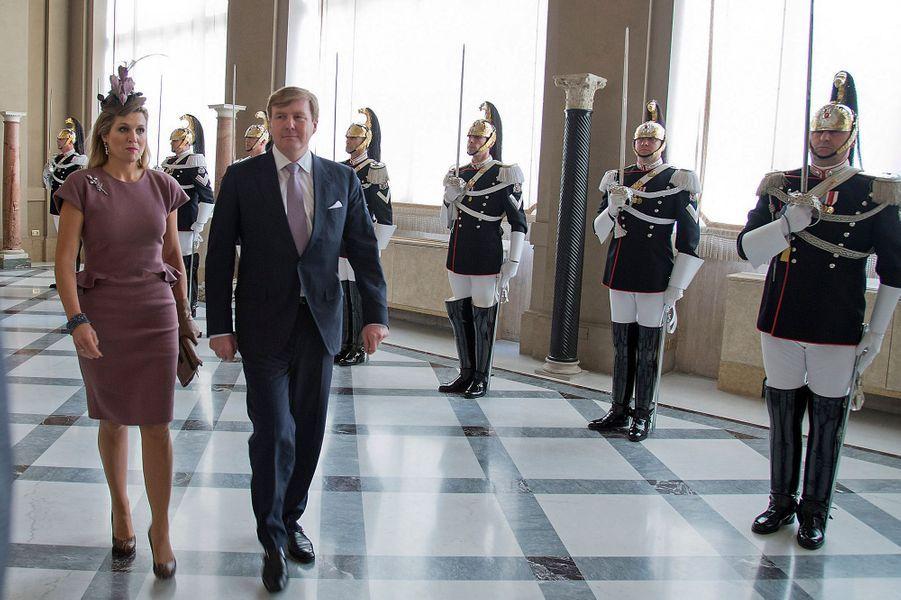 La reine Maxima avec le roi Willem-Alexander des Pays-Bas à Rome, le 23 janvier 2014