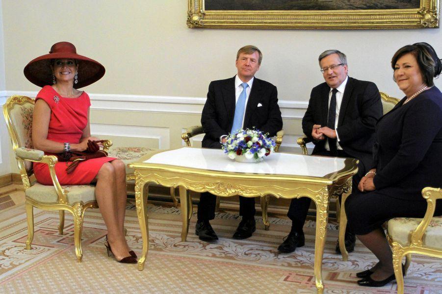 La reine Maxima et le roi Willem-Alexander des Pays-Bas en Pologne, le 24 juin 2014