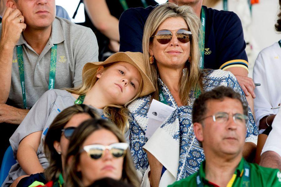 La reine Maxima des Pays-Bas avec sa fille Ariane aux JO de Rio, le 19 août 2016