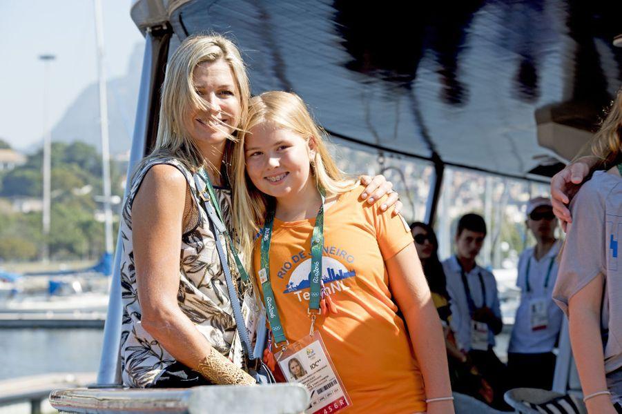 La reine Maxima des Pays-Bas avec sa fille Catharina-Amalia aux JO de Rio, le 14 août 2016