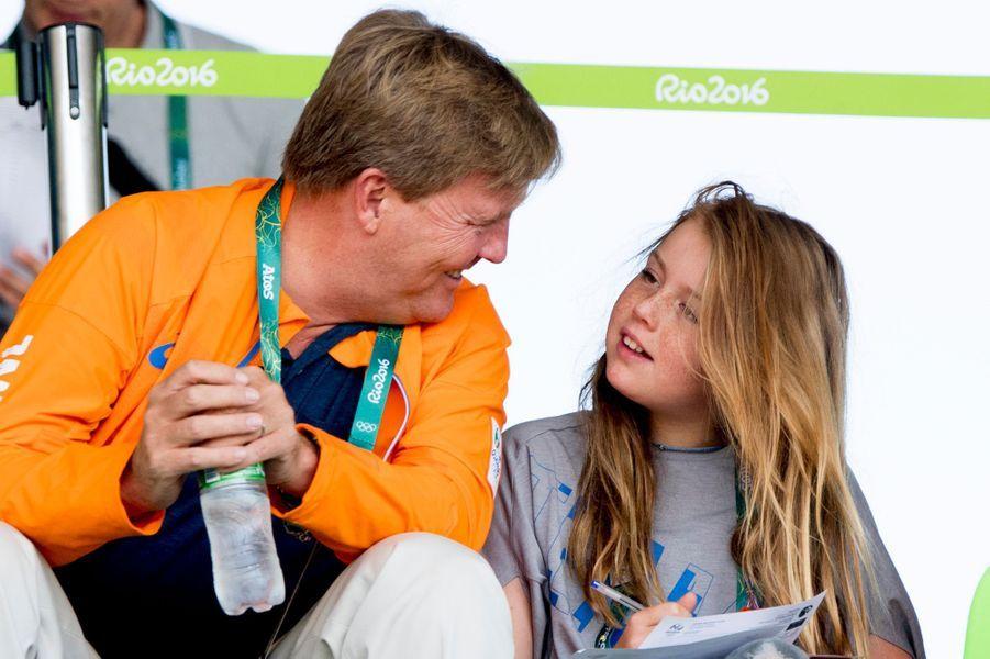 Le roi Willem-Alexander des Pays-Bas avec sa fille Alexia aux JO de Rio, le 17 août 2016
