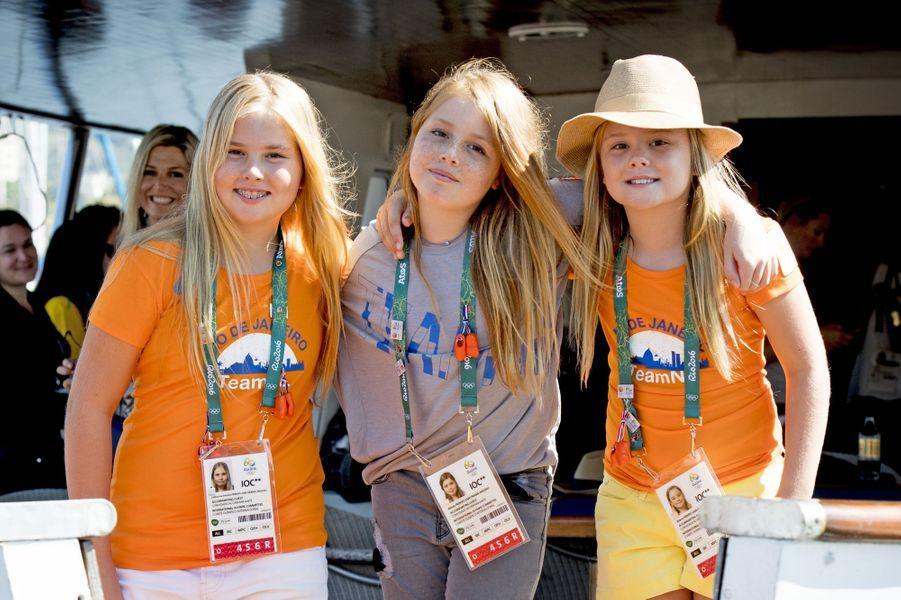 Les princesses Catharina-Amalia, Alexia et Ariane des Pays-Bas aux JO de Rio, le 14 août 2016