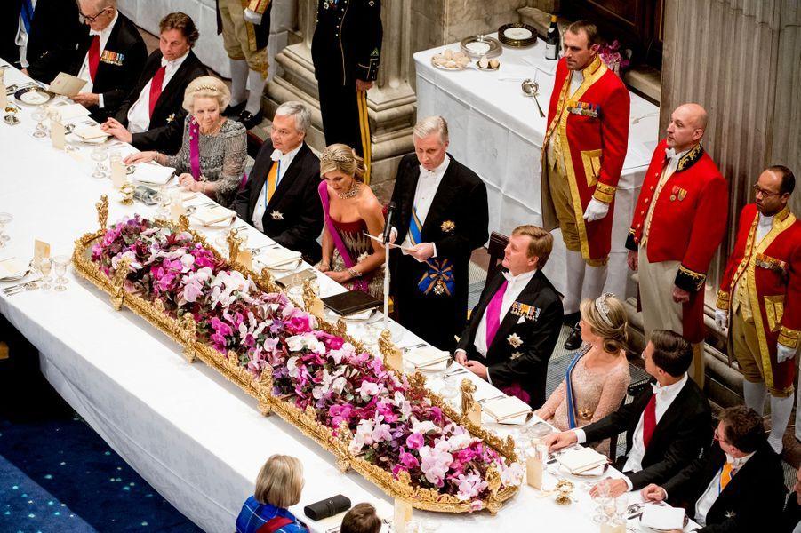 Le dîner d'Etat pour le roi et la reine de Belgique à Amsterdam, le 28 novembre 2016