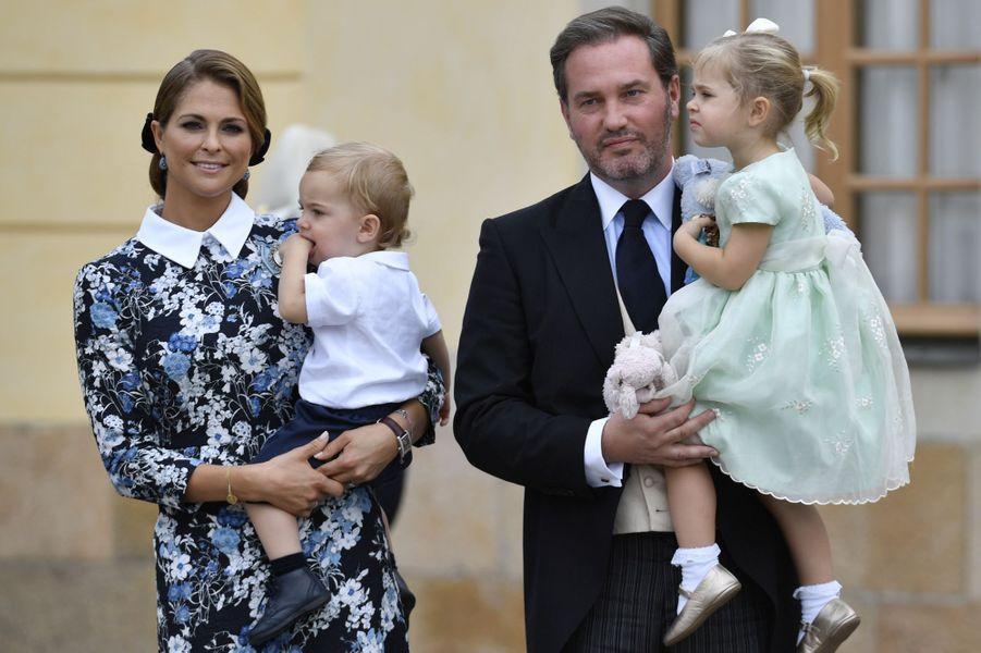 La princesse Madeleine de Suède et Christopher O'Neill avec leurs enfants à Stockholm, le 9 septembre 2016