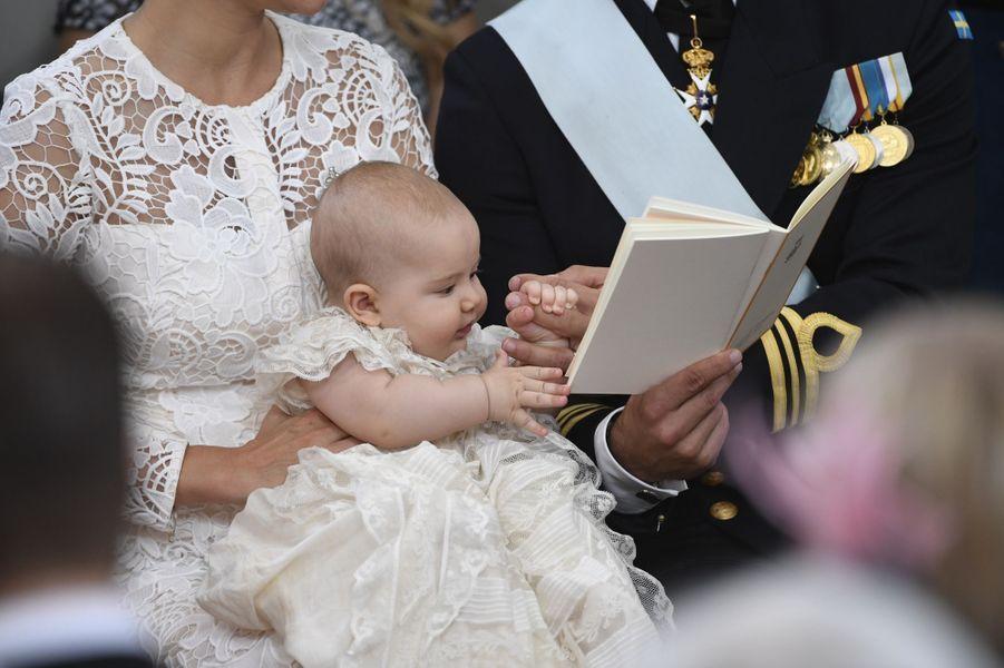 Le prince Alexander de Suède lors de son baptême à Stockholm, le 9 septembre 2016