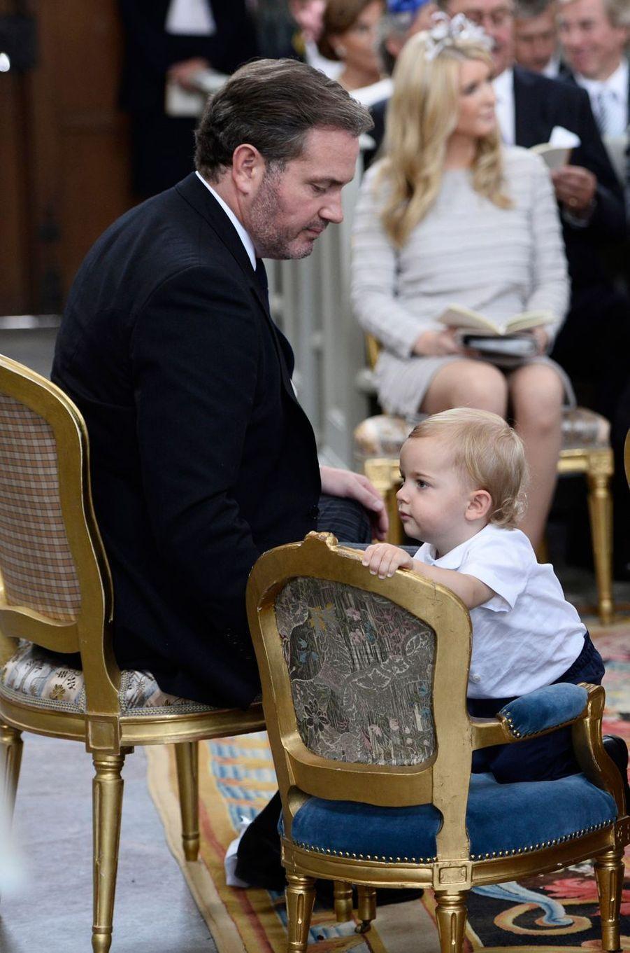 Le prince Nicolas de Suède et son père Christopher O'Neill à Stockholm, le 9 septembre 2016
