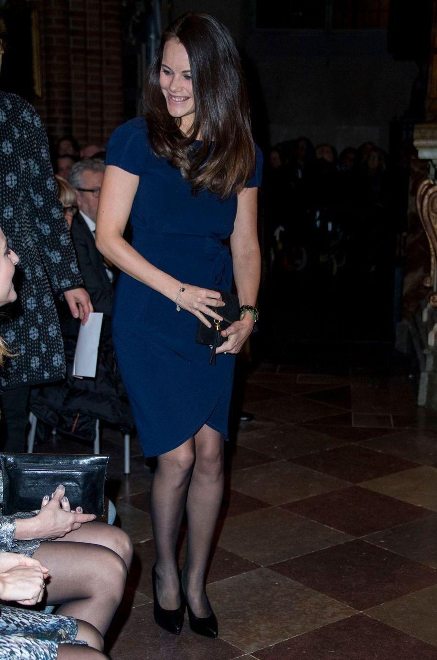 La princesse Sofia de Suède arrive à la cathédrale de Stockholm, le 21décembre 2016