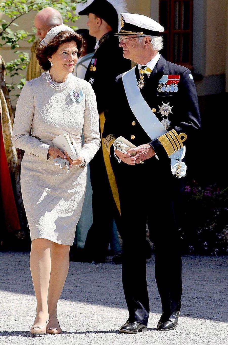 La reine Silvia et le roi Carl XVI Gustaf de Suède à Stockholm, le 8 juin 2018