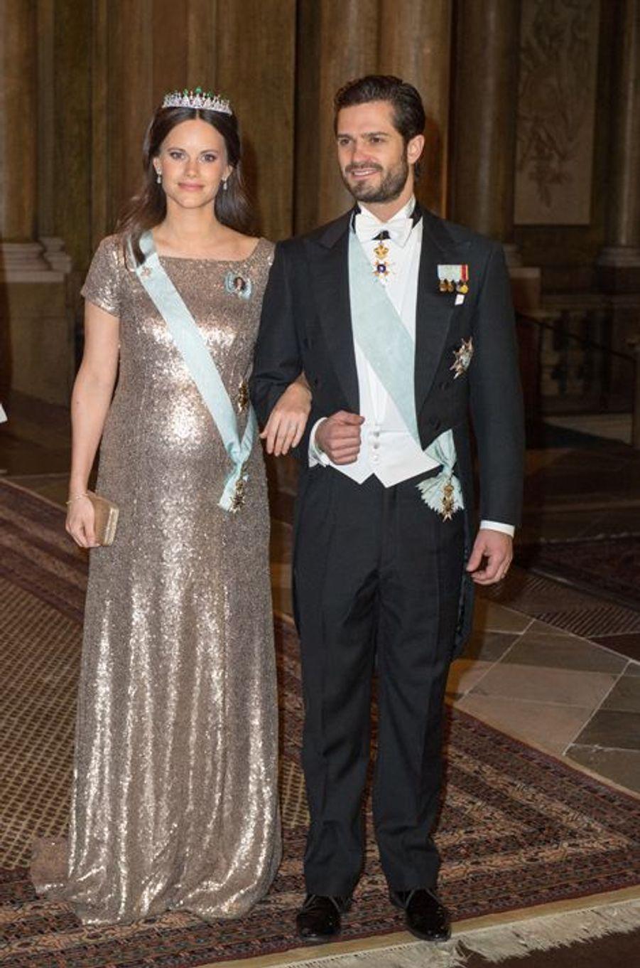 La princesse Sofia et le prince Carl Philip de Suède au Palais royal à Stockholm, le 3 février 2016