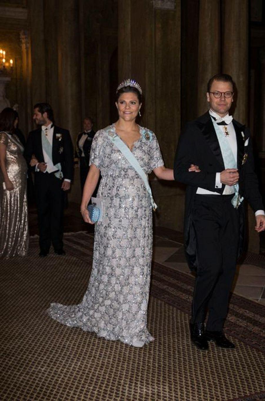 La princesse Victoria de Suède et le prince Daniel, avec la princesse Sofia et le prince Carl Philip, au Palais royal à Stockholm, le 3 février 2...