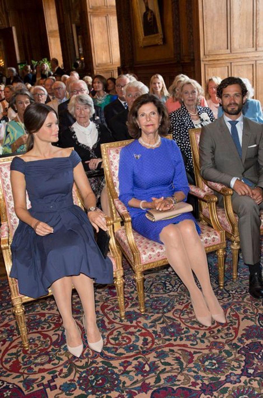 La princesse Sofia, la reine Silvia et le prince Carl Philip de Suède à Stockholm, le 29 août 2015