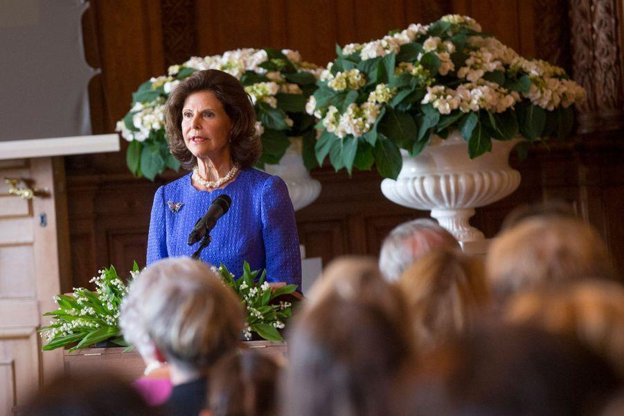 La reine Silvia de Suède à Stockholm, le 29 août 2015