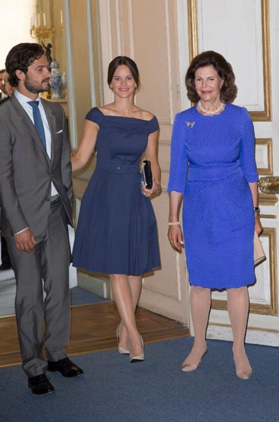 Le prince Carl Philip, la princesse Sofia et la reine Silvia de Suède à Stockholm, le 29 août 2015
