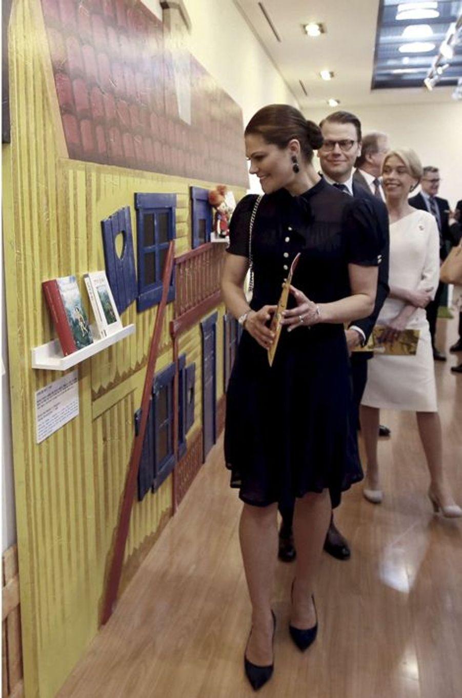 La princesse Victoria et le prince Daniel à la Bibliothèque nationale pour les enfants et les jeunes adultes à Séoul, le 25 mars 2015