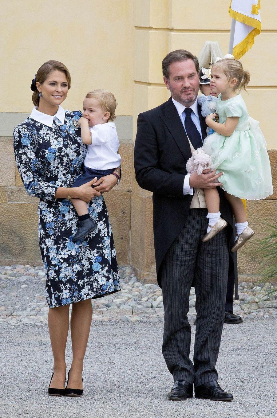 La princesse Madeleine de Suède avec son mari Christopher O'Neill et leurs enfants la princesse Leonore et le prince Nicolas, le 9 septembre 2016