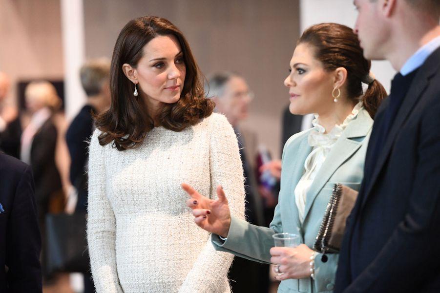 La princesse Victoria de Suède avec la duchesse de Cambridge et le prince William à Stockholm, le 31 janvier 2018