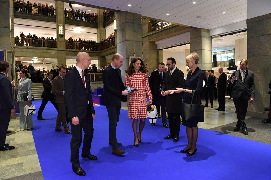 La princesse Victoria et le prince Daniel de Suède avec la duchesse de Cambridge et le prince William à Stockholm, le 31 janvier 2018