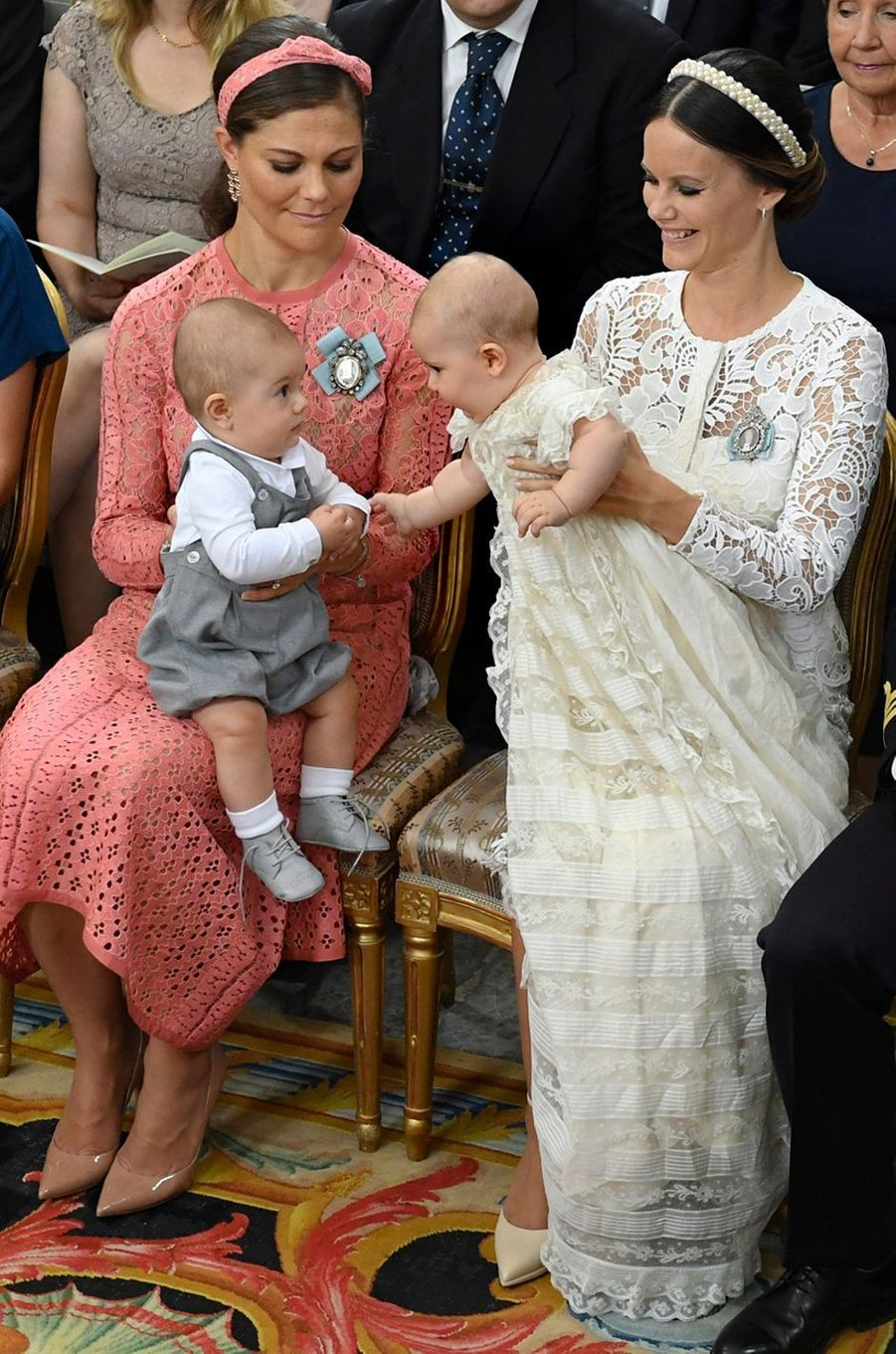 Les princes Oscar et Alexander de Suède avec les princesses Victoria et Sofia à Stockholm, le 9 septembre 2016