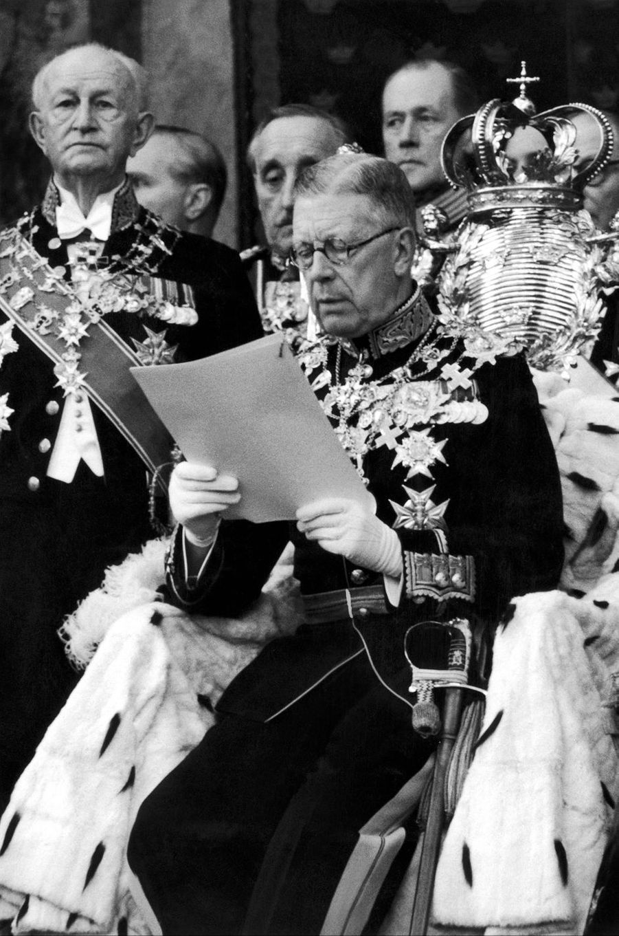 Le roi Gustaf VI Adolf de Suède, le 11 janvier 1955