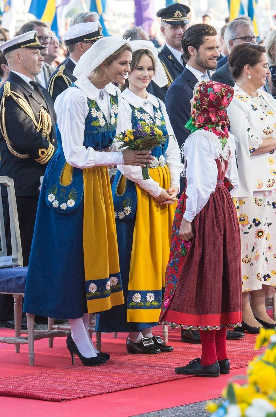 Les princesses Madeleine et Sofia et le prince Carl Philip de Suède à Stockholm, le 6 juin 2019