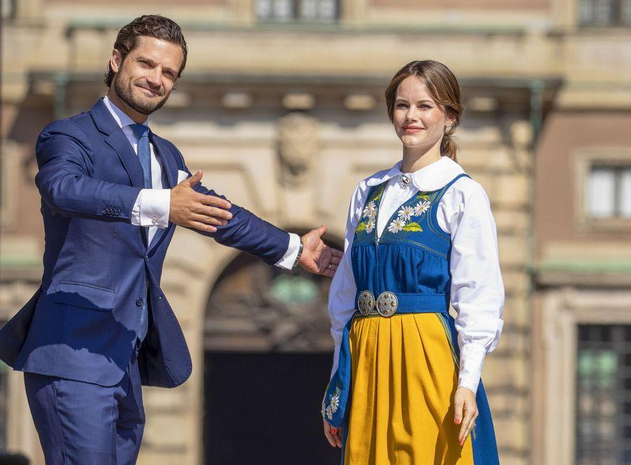 La princesse Sofia et le prince Carl Philip de Suède au Palais royal à Stockholm, le 6 juin 2019