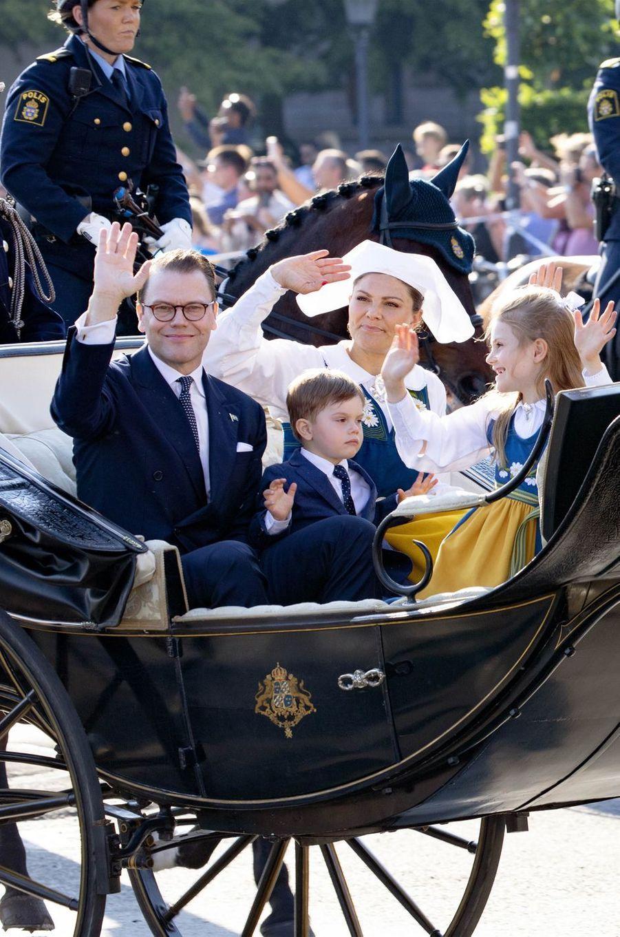 Les princesses Victoria, Estelle et Madeleine et les princes Daniel et Oscar à Stockholm, le 6 juin 2019