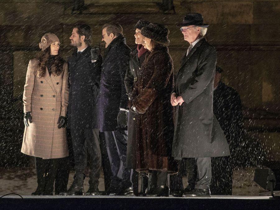 Les princesses Sofia et Victoria, la reine Silvia, le prince Carl Philip et le roi Carl XVI Gustaf de Suède à Stockholm, le 18 décembre 2018