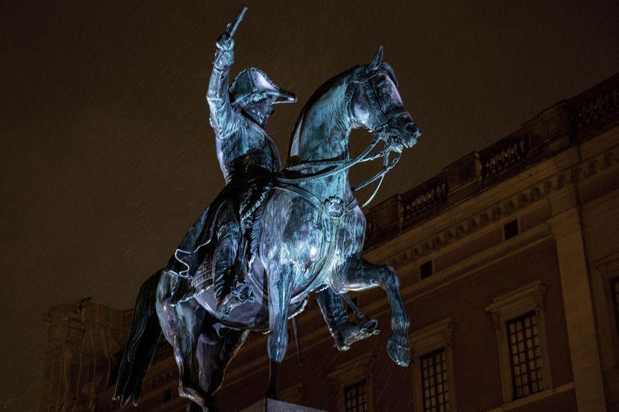 La statue de Karl XIV Johan à Stockholm, le 18 décembre 2018