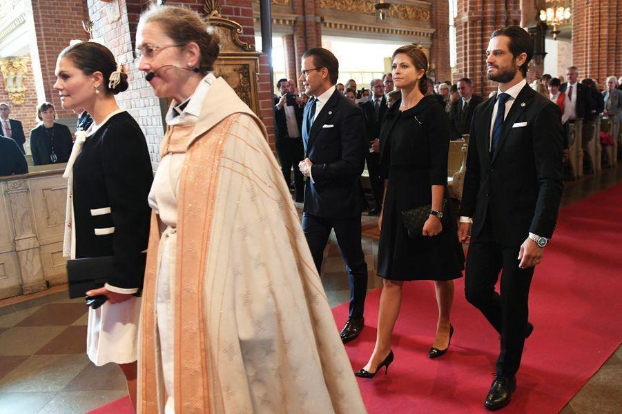 Les princesses Victoria et Madeleine et les princes Daniel et Carl Philip de Suède dans la cathédrale de Stockholm, le 12 septembre 2017