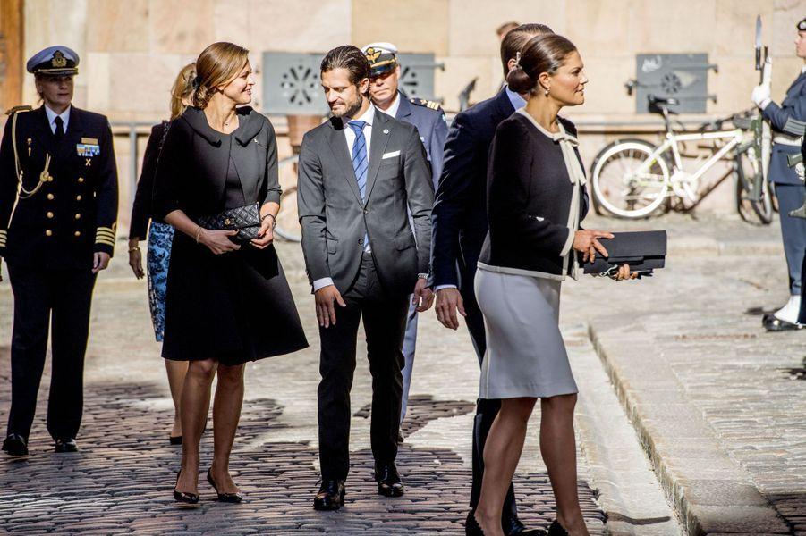 Les princesses Victoria et Madeleine et les princes Daniel et Carl Philip de Suède à Stockholm, le 12 septembre 2017