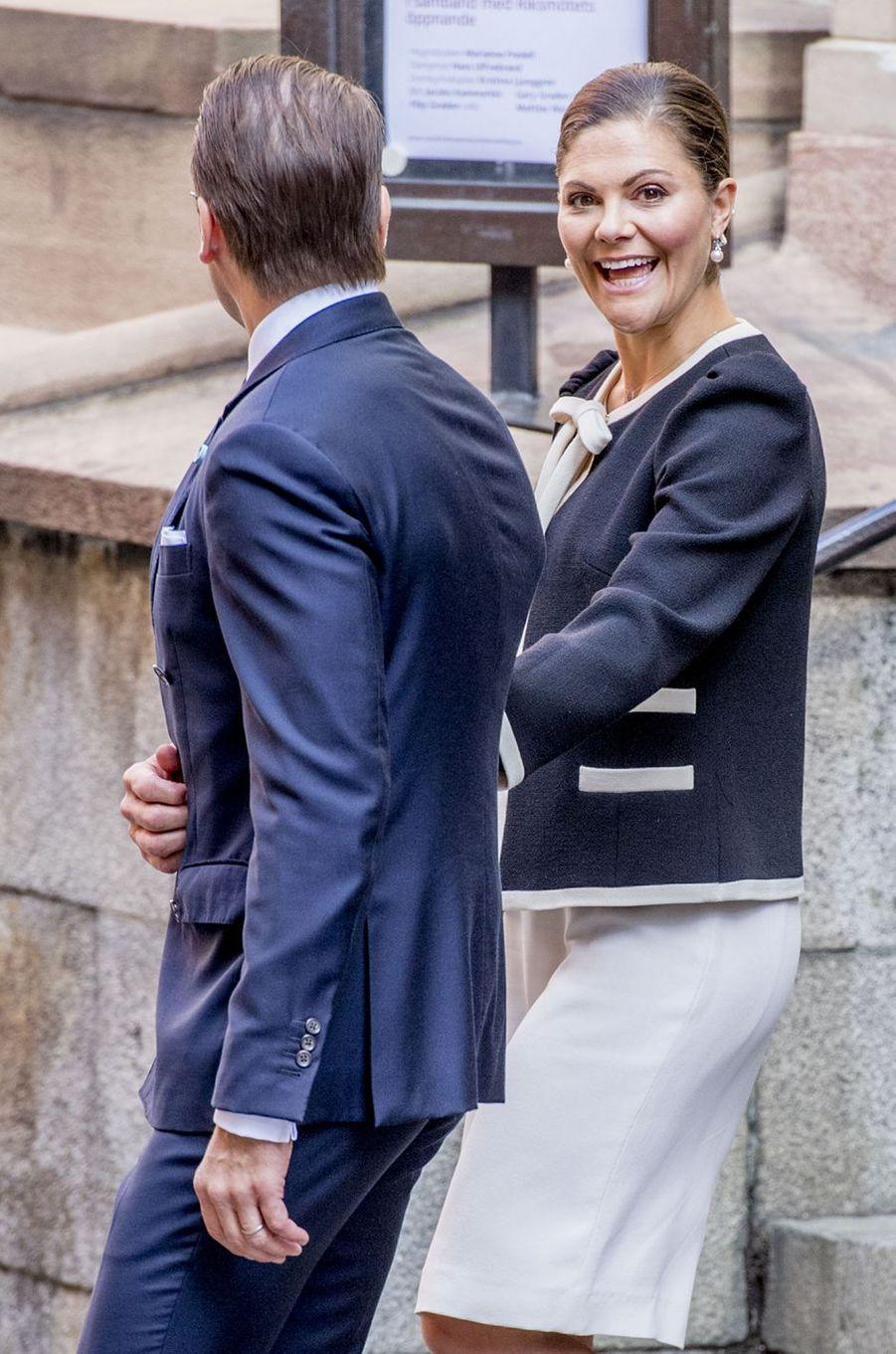 La princesse Victoria de Suède et le prince consort Daniel à Stockholm, le 12 septembre 2017