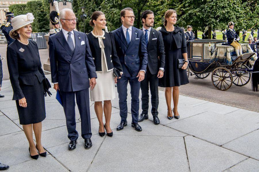La famille royale de Suède à Stockholm, le 12 septembre 2017