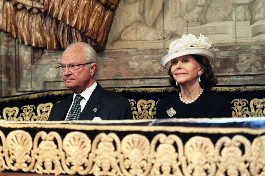 La reine Silvia et le roi Carl XVI Gustaf de Suède à Stockholm, le 12 septembre 2017