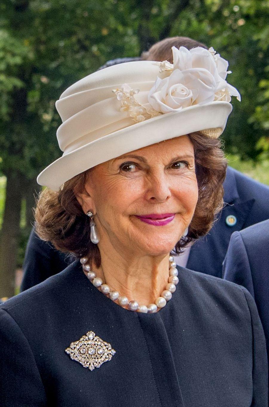 La reine Silvia de Suède à Stockholm, le 12 septembre 2017