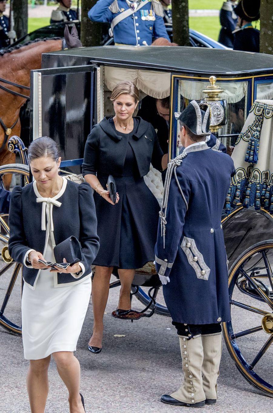 Les princesses Victoria et Madeleine de Suède à Stockholm, le 12 septembre 2017