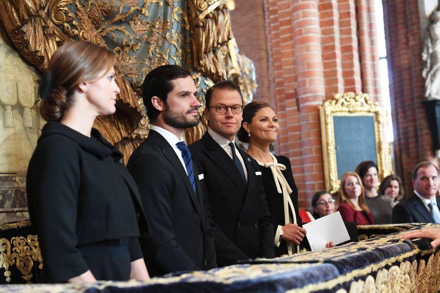 Les princesses Madeleine et Victoria et les princes Daniel et Carl Philip de Suède à Stockholm, le 12 septembre 2017