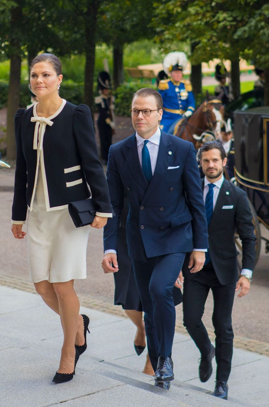 La princesse Victoria de Suède et les princes Daniel et Carl Philip à Stockholm, le 12 septembre 2017