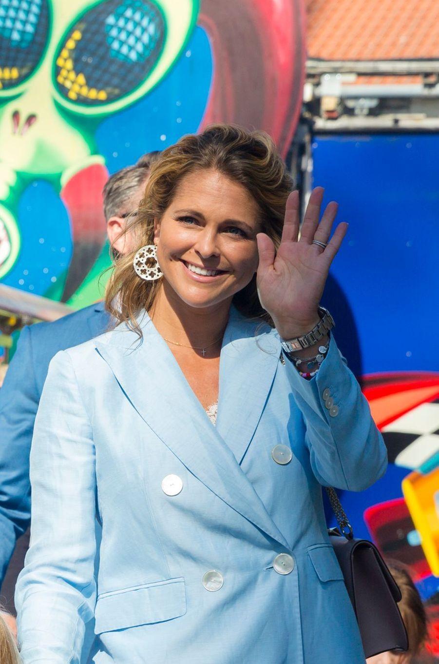 La princesse Madeleine de Suède au parc d'attractions Gröna Lund à Stockholm, le 27 mai 2018