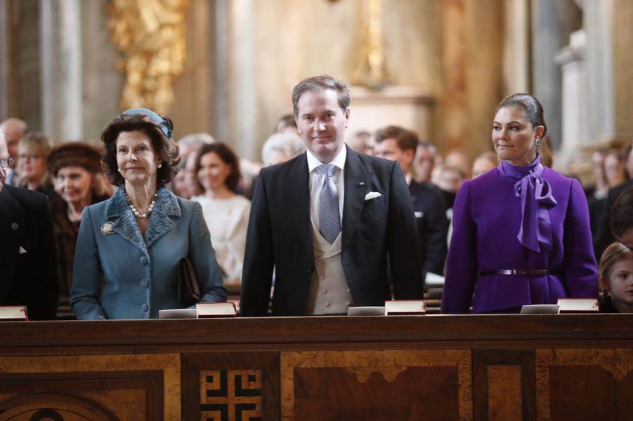La reine Silvia et la princesse Victoria de Suède avec Christopher O'Neill à Stockholm, le 12 mars 2018