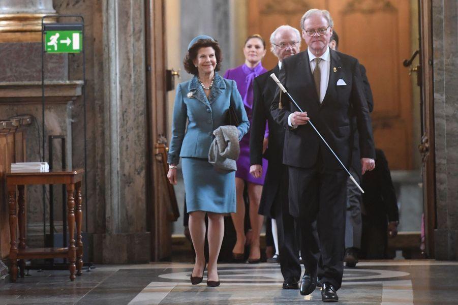 La reine Silvia et le roi Carl XVI Gustaf de Suède à Stockholm, le 12 mars 2018