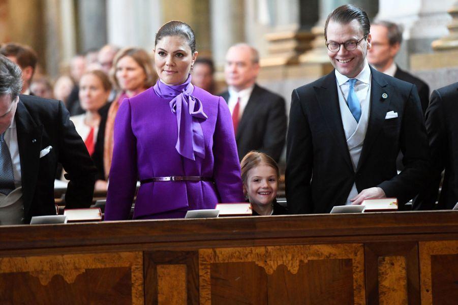 La princesse Victoria de Suède avec la princesse Estelle et le prince Daniel à Stockholm, le 12 mars 2018