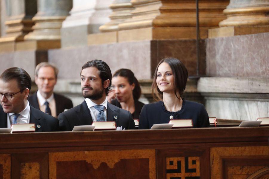 Les princes Daniel et Carl Philip et la princesse Sofia à Stockholm, le 12 mars 2018