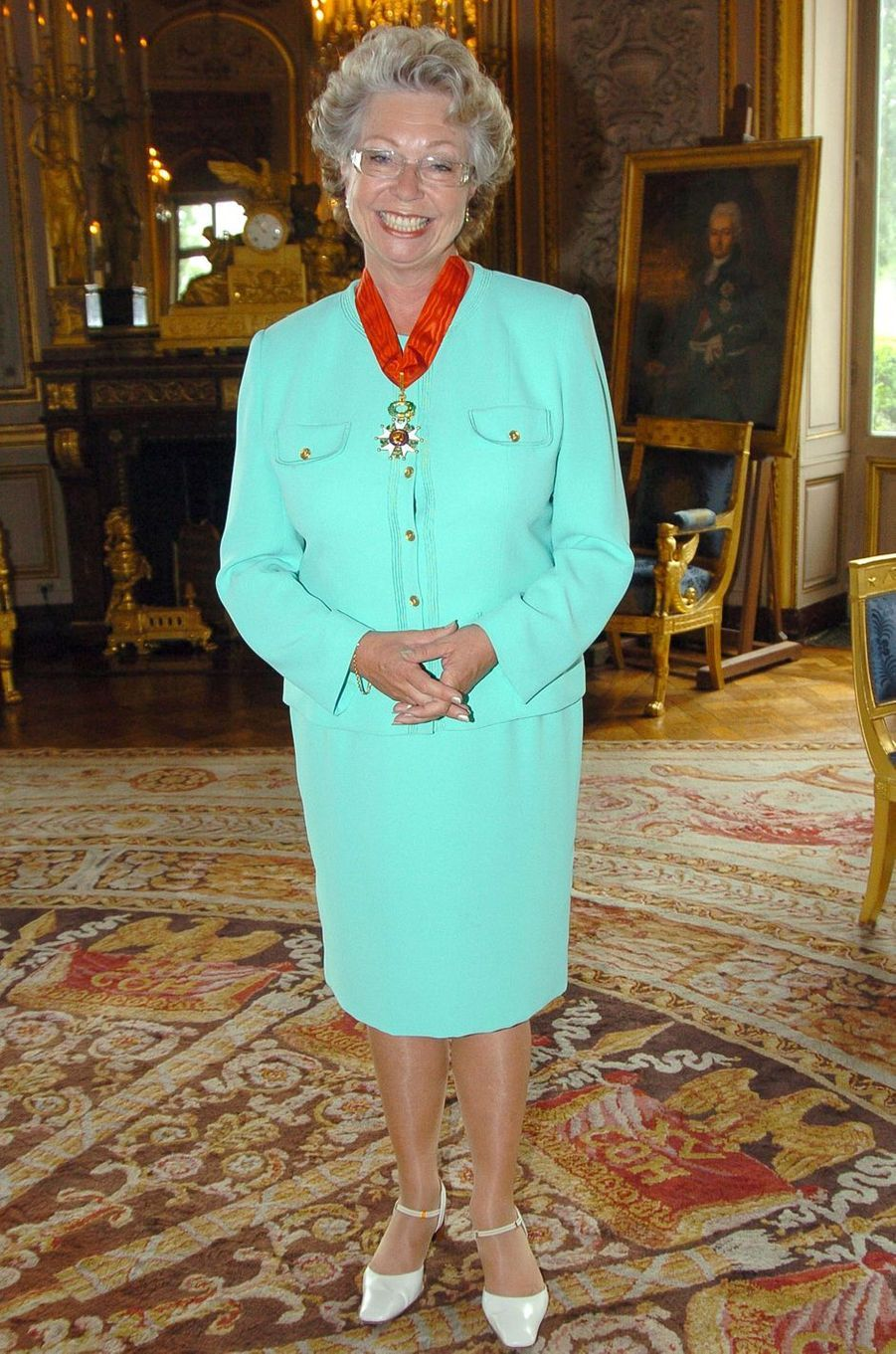 La princesse Christina de Suède, commandeur de la Légion d'Honneur à Paris, le 15 juillet 2004