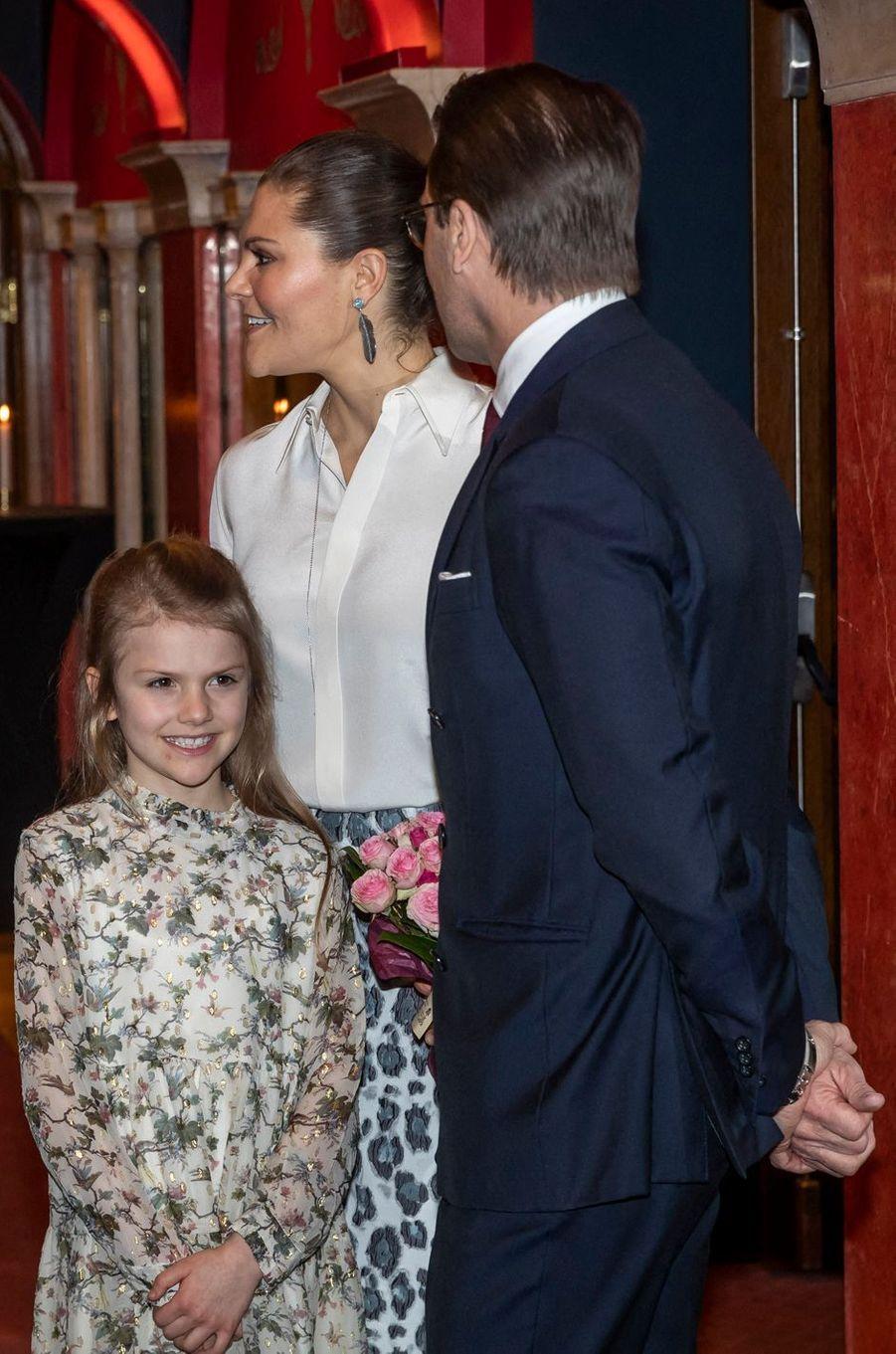 La princesse Estelle de Suède avec ses parents à Stockholm, le 13 février 2020