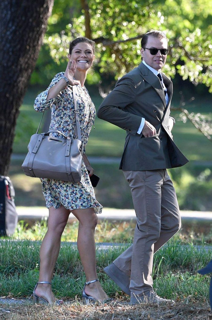 La princesse Victoria de Suède et le prince Daniel, à Stockholm le 21 août 2018