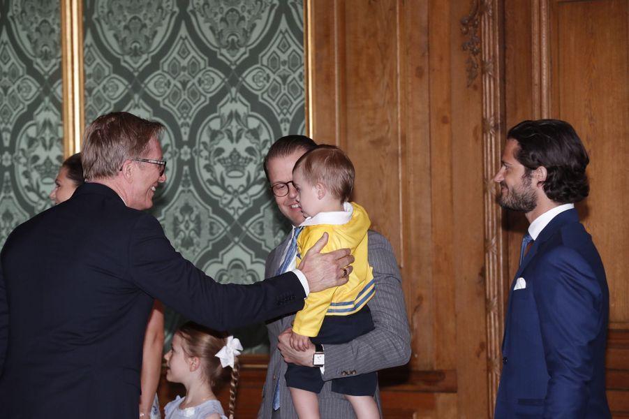 Les princes Daniel, Oscar et Carl Philip de Suède, le 21 mai 2018 à Stockholm